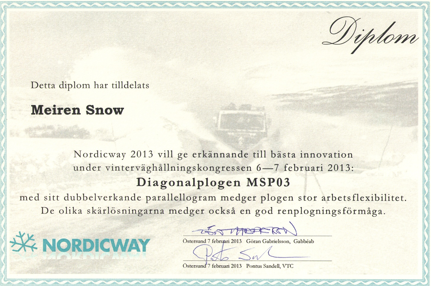 Nordicway innovation award 2013